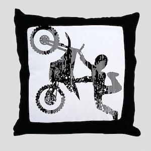 Freestyle Motocross Grunge Throw Pillow