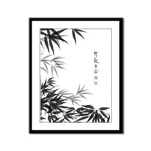 Asian Bamboo Framed Panel Print