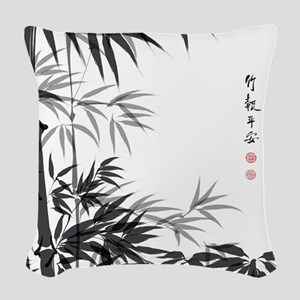 Asian Bamboo Woven Throw Pillow