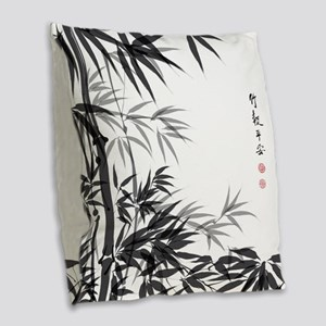 Asian Bamboo Burlap Throw Pillow