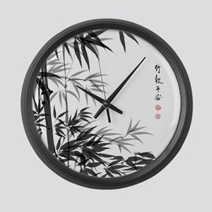Asian Bamboo Large Wall Clock