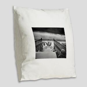 D-Day 6/6/1944 Burlap Throw Pillow