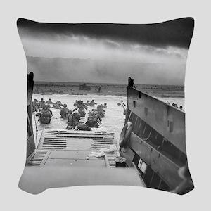 D-Day 6/6/1944 Woven Throw Pillow