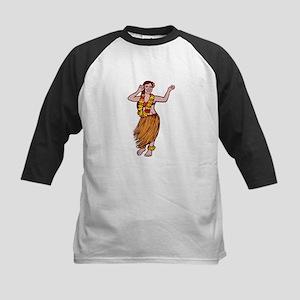 Polynesian Dancer Grass Skirt Linocut Baseball Jer