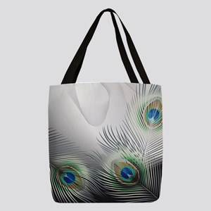 Peacock Feather Fantasy Polyester Tote Bag