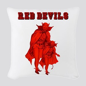 Red Devils Woven Throw Pillow