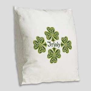 Irish Trinity Clovers Burlap Throw Pillow