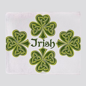 Irish Trinity Clovers Throw Blanket