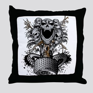 Off-Road Tire Skulltree Throw Pillow