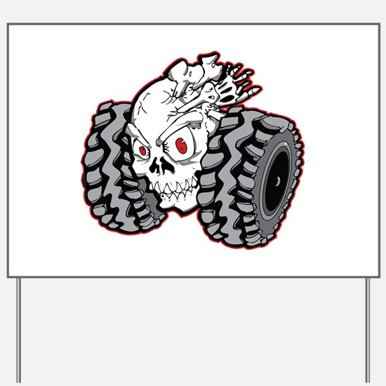 OffRoad Styles Skull Roller Yard Sign