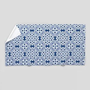 Classic Blue & White Lace 2 Beach Towel