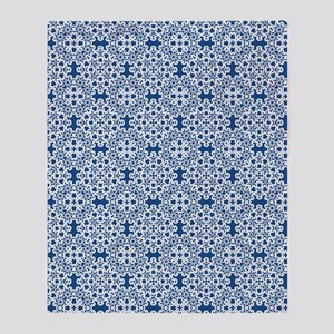 Classic Blue & White Lace 2 Throw Blanket