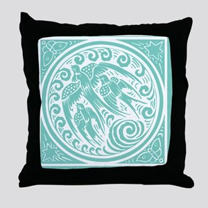 Vintage Art Nouveau Birds Throw Pillow
