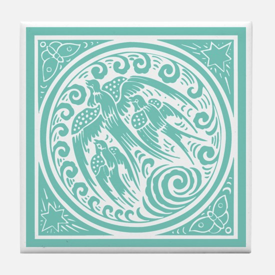 Vintage Art Nouveau Birds Tile Coaster