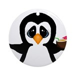 Penguin With Coconut Ornament (Round)
