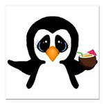 Penguin With Coconut Square Car Magnet 3