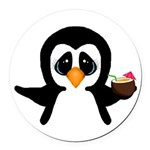 Penguin With Coconut Round Car Magnet