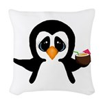 Penguin With Coconut Woven Throw Pillow