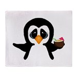 Penguin With Coconut Throw Blanket