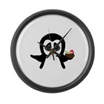Penguin With Coconut Large Wall Clock