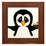 Penguin With Coconut Framed Tile
