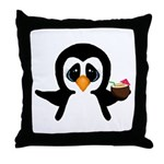 Penguin With Coconut Throw Pillow