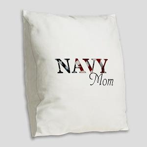 Mom Navy/Flag Burlap Throw Pillow