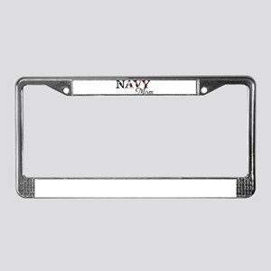 Mom Navy/Flag License Plate Frame