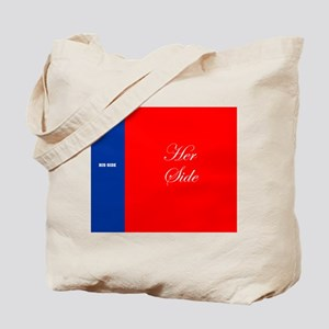His Side Her Side blue red Tote Bag