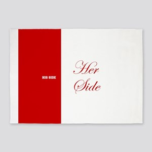His Side Her Side 3 red 5'x7'Area Rug