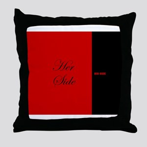 His Side Her Side 6 red black Throw Pillow