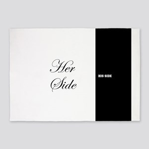 His Side Her Side 7 black white 5'x7'Area Rug