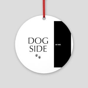 dog side 8 black white Ornament (Round)
