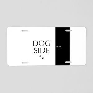 dog side 8 black white Aluminum License Plate