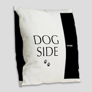 dog side 8 black white Burlap Throw Pillow