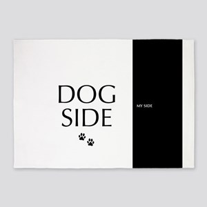 dog side 8 black white 5'x7'Area Rug