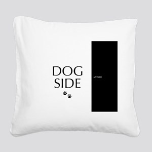 dog side 8 black white Square Canvas Pillow
