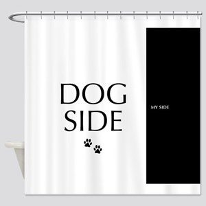 dog side 8 black white Shower Curtain