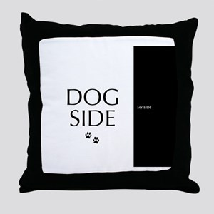 dog side 8 black white Throw Pillow