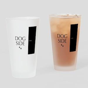 dog side 8 black white Drinking Glass