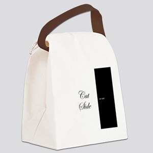 cat side 9 black white Canvas Lunch Bag