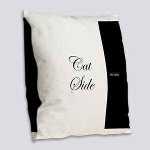 cat side 9 black white Burlap Throw Pillow