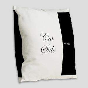 cat side 9 black white Burlap Throw Pillow