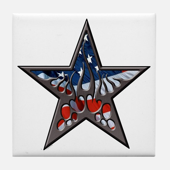 American flaming star.png Tile Coaster