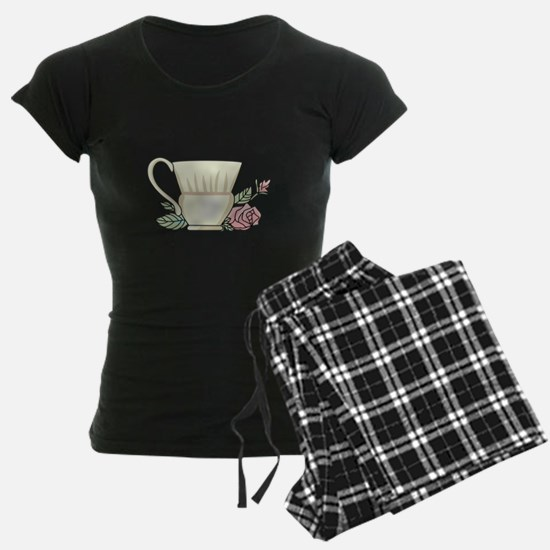 Coffee Cup And Rose Pajamas