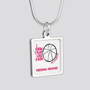Personalized Basketball Gi Silver Square Necklace