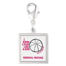 Personalized Basketball Girl Silver Square Charm