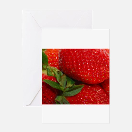 red strawberries Greeting Cards