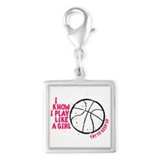 Play Basketball Like a Girl Silver Square Charm