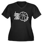 Play Basketb Women's Plus Size V-Neck Dark T-Shirt